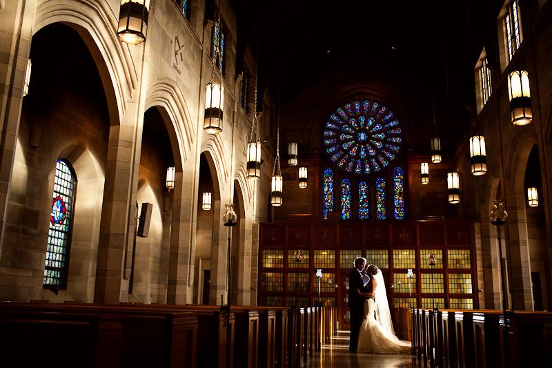 baker memorial church wedding portrait
